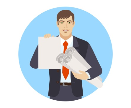 Businessman holding the project plans and showing paper